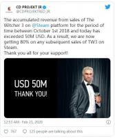 《巫师3》Steam销售额超5000万美元